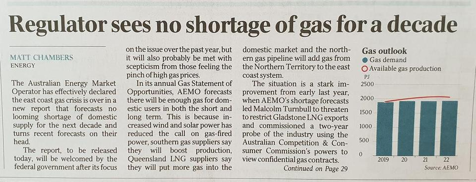 Australian on Short lived gas shortfall